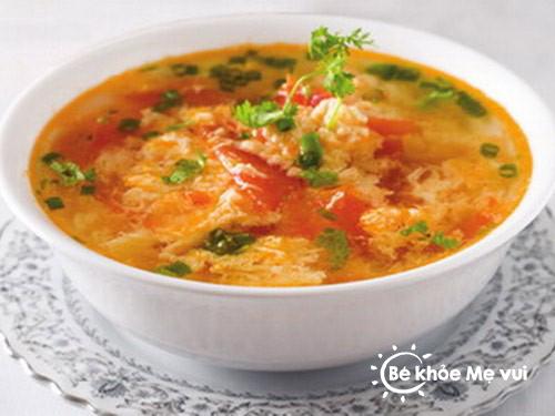 thực đơn cho trẻ bằng canh trứng cà chua thịt